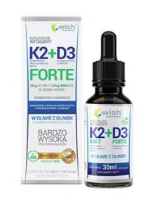 WISH Pharmaceutical Vitamin K2 MK7 + D3 Forte